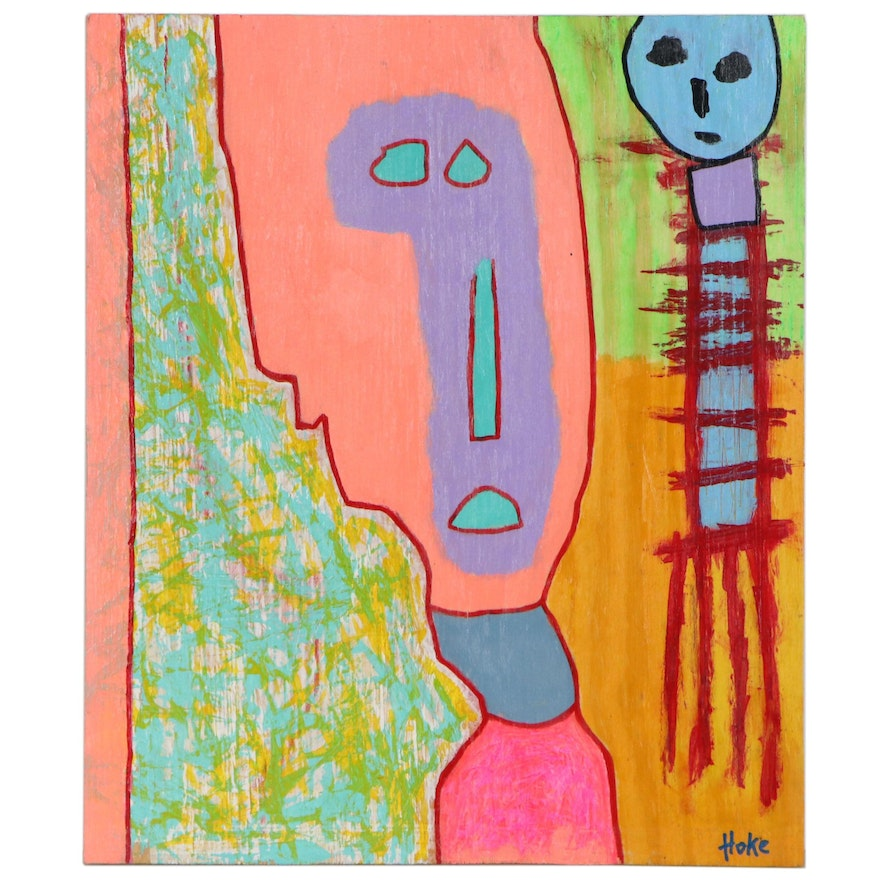 """Bob Hoke Outsider Acrylic Painting """"Right Place Wrong Time"""", 2020"""