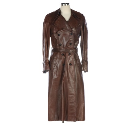 Beged-Or Double-Breasted Brown Leather Trench Coat for Shillito's, 1970s Vintage