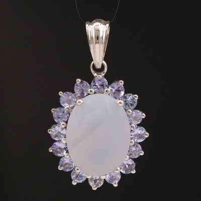 Sterling Silver Chalcedony and Tanzanite Pendant