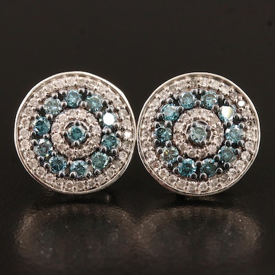 Sterling Silver 1.33 CTW Diamond Button Earrings