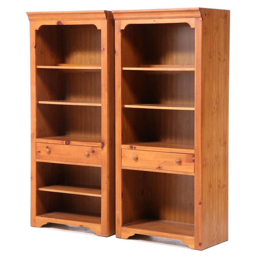 Pair of Broyhill Pine and Laminate Bookcases, Late 20th Century