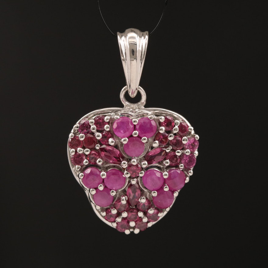 Sterling Silver Ruby and Garnet Pendant