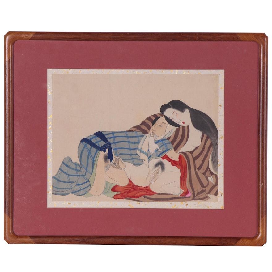 Japanese Erotic Shunga Ink and Gouache Painting, 20th Century
