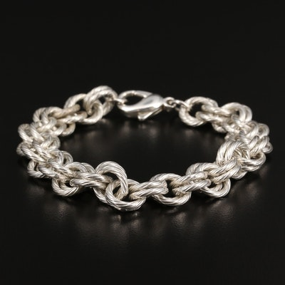 Sterling Silver Double Cable Link Bracelet