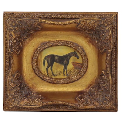 Miniature Equine Portrait Oil Painting, 21st Century
