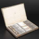 German 800 Silver Dessert Knives and Forks in Case, Late 19th/Early 20th Century