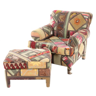 Seret & Sons (Santa Fe) Patchwork Rug Upholstered Armchair with Ottoman