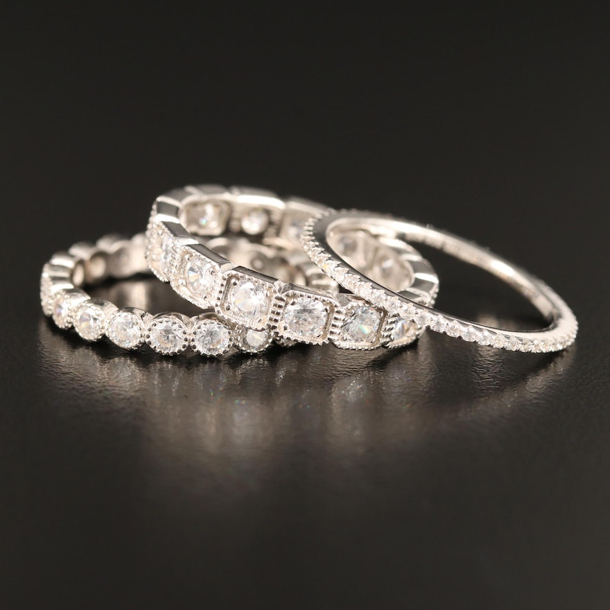 Sterling Silver Cubic Zirconia Bands