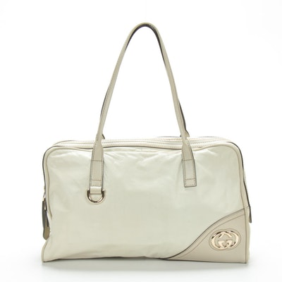 Gucci Top Handle Bag in Neutral Two-Tone Leather