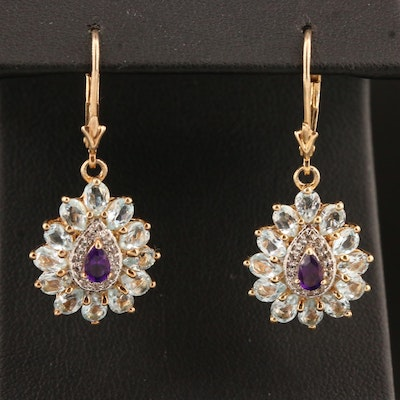 Sterling Silver Topaz and Amethyst Earrings Featuring Teardrop Design