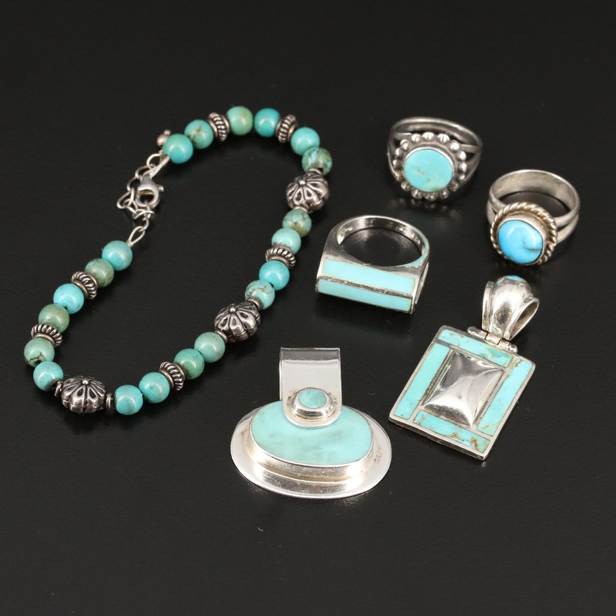 Sterling Silver Turquoise Jewelry Including Cubic Zirconia Accents