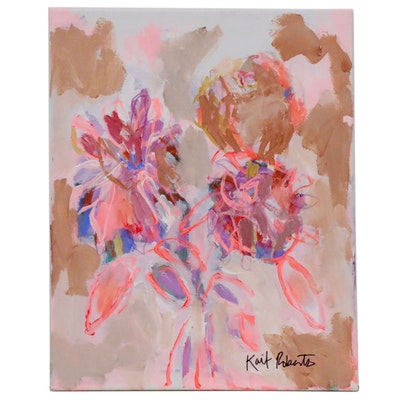 "Kait Roberts Abstract Acrylic Painting ""Evening Garden in Vase"", 2020"