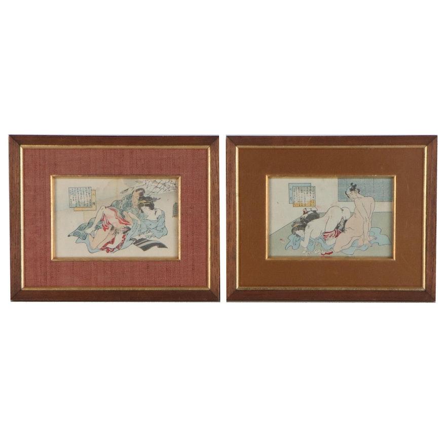 Japanese Shunga Calendar Woodblocks of Erotic Scenes, Late 19th Century