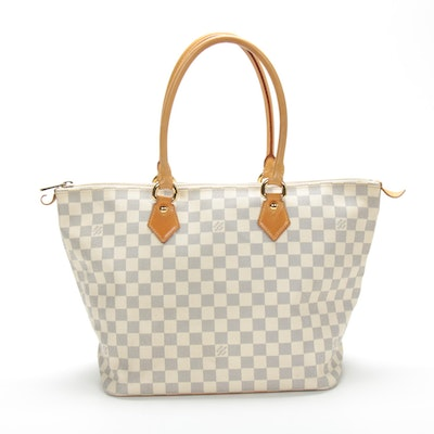 Louis Vuitton Saleya PM Tote in Damier Azur Canvas and Vachetta Leather