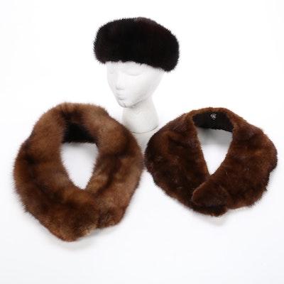 Mink Fur Pill Box Hat and Collar with Fox Fur Collar