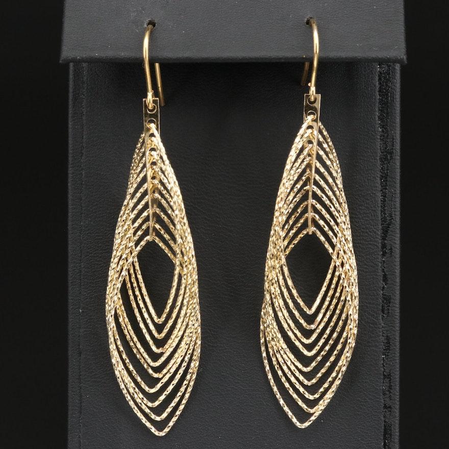 Sterling Silver Diamond Cut Multi-Layered Dangle Earrings