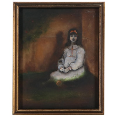 Oil Painting of Seated Girl in White Dress, Mid 20th Century