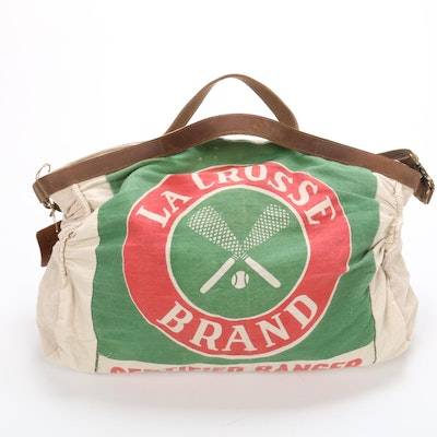 Selina Vaughan Upcycled Seed Bag Duffel Bag with Leather Straps