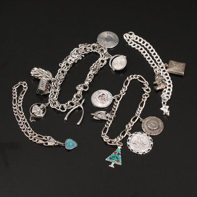 Vintage Sterling Silver Charm Bracelets Featuring Glass and Enamel Accents