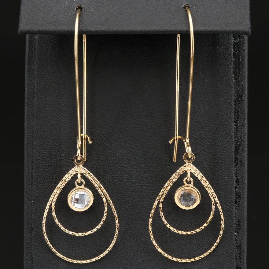 Sterling Silver Diamond Cut Dangle Earrings