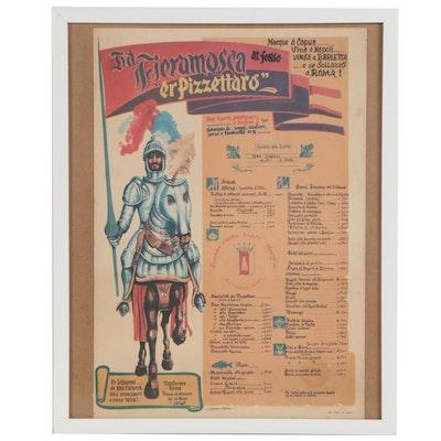 """Offset Lithograph Menu Poster """"Da Fieramosca er Pizzettaro"""", 20th Century"""