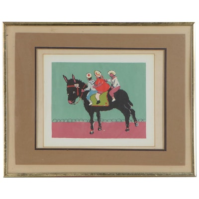 Serigraph of Three Figures Riding a Donkey, Late 20th Century