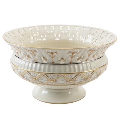 "Lenox ""Florentine & Pearl"" Bone China Centerpiece Bowl"