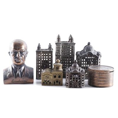 Art Deco Cast Iron Still Banks, Industrial Buildings, President Eisenhower, More
