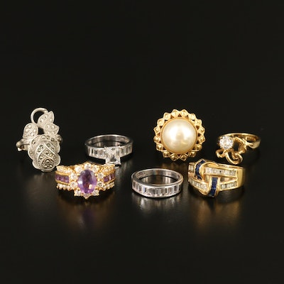 Sterling Rings Featuring Clark and Coombs Sterling Floral Ring with 14K Shank