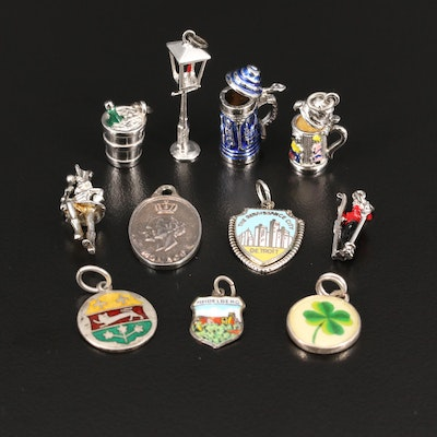 Vintage Charms Featuring Sterling and 800 Silver