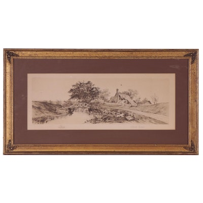 Charles Gondel Etching of Riverside Landscape, Late 19th Century