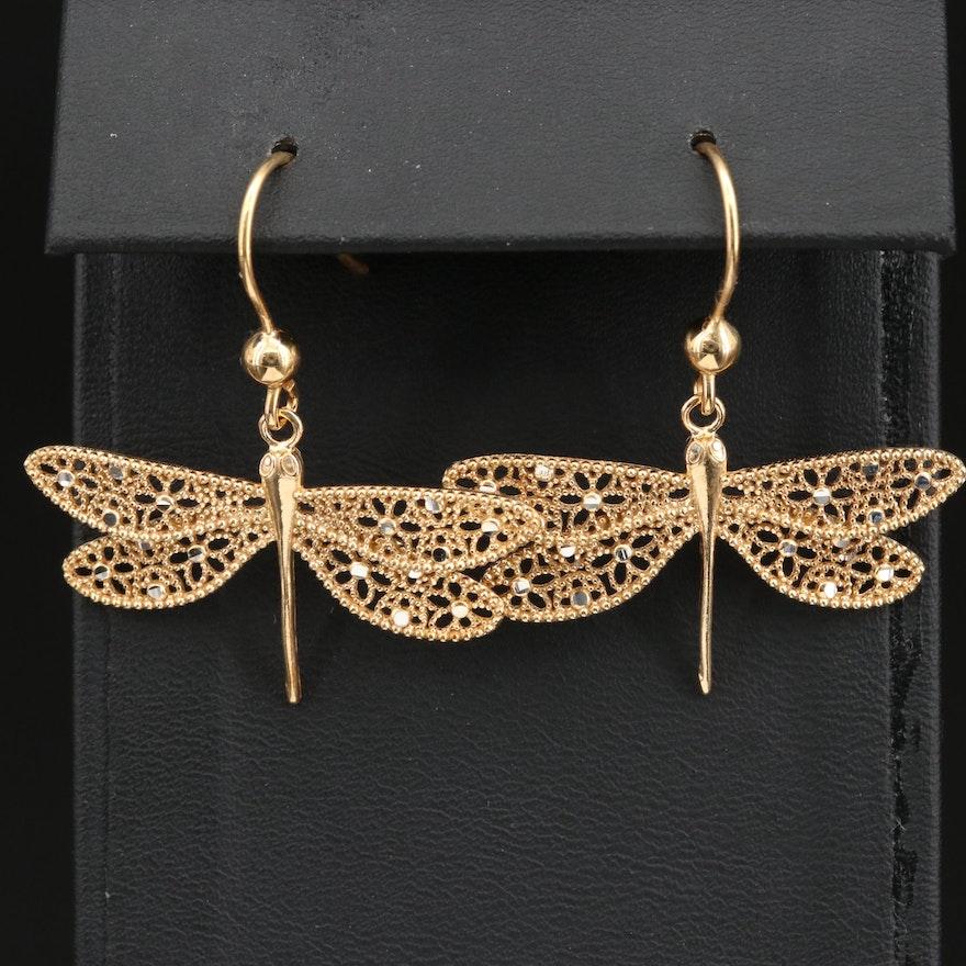 Sterling Silver Openwork Dragonfly Dangle Earrings