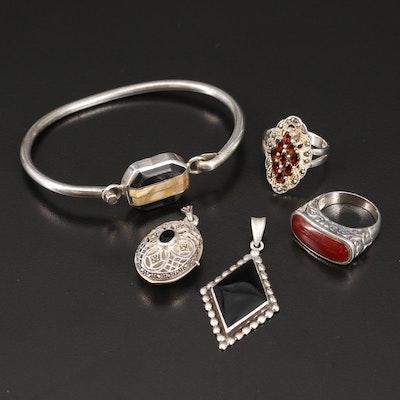 Black Onyx and Marcasite Jewelry Including Filigree Locket