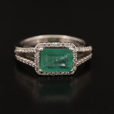 14K Emerald and Diamond Ring with Open Shoulders