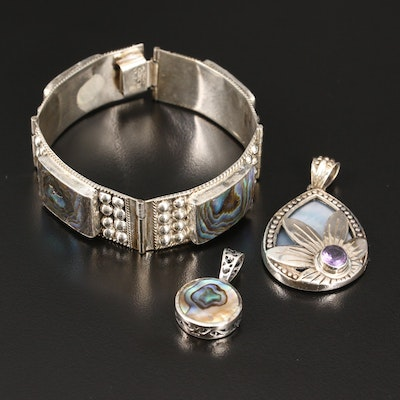 Sterling Silver Jewelry with Abalone Accents Including Mexican Panel Bracelet