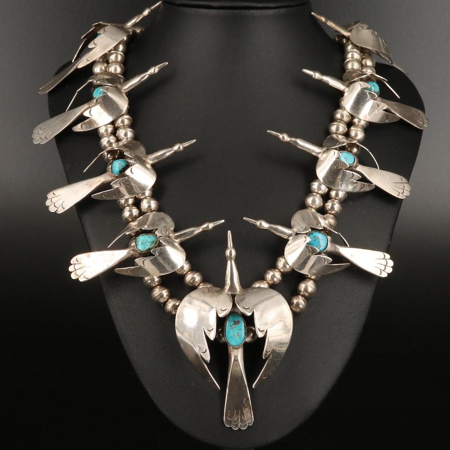 Signed Western Sterling Turquoise Roadrunner Necklace