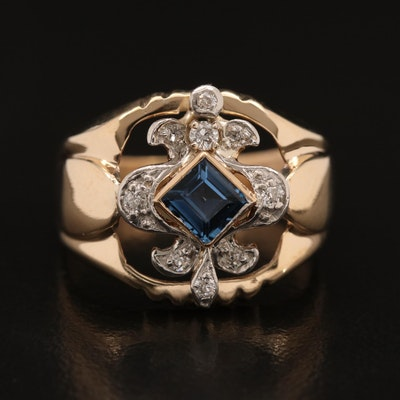 Vintage 10K Sapphire and Diamond Fleur-de-lis Motif Ring with Platinum Accent