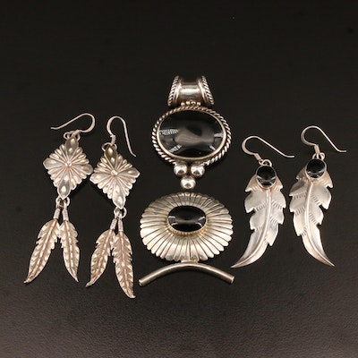 Southwestern Style Sterling Jewelry Including Feather Earrings and Black Onyx