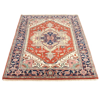 5' x 8'1 Hand-Knotted Indo Persian Heriz Serapi Rug, 2010s