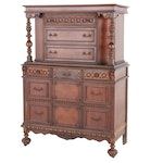 Jacobean Revival Court Cabinet Style Chest of Drawers, Early-Mid 20th Century