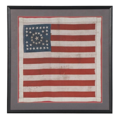 38 Star American Flag Patriotic Print Silk Handkerchief, Late 19th Century
