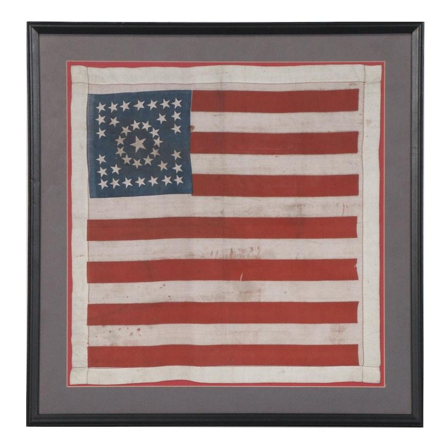 38 Star American Flag Patriotic Print Silk Handkerchief, Late 19th Century