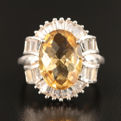 Sterling Silver Citrine and Topaz Ring