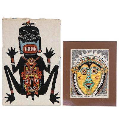 "Ziggie Balinese Serigraphs ""Primitive Passion,"" 20th Century"