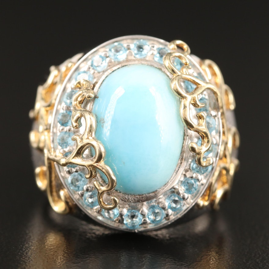 Sterling Silver Larimar Ring with Topaz Halo and Vining Appliqué