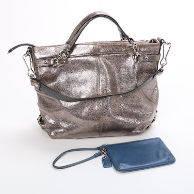 Coach Brooke Satchel in Metallic Leather with Wristlet