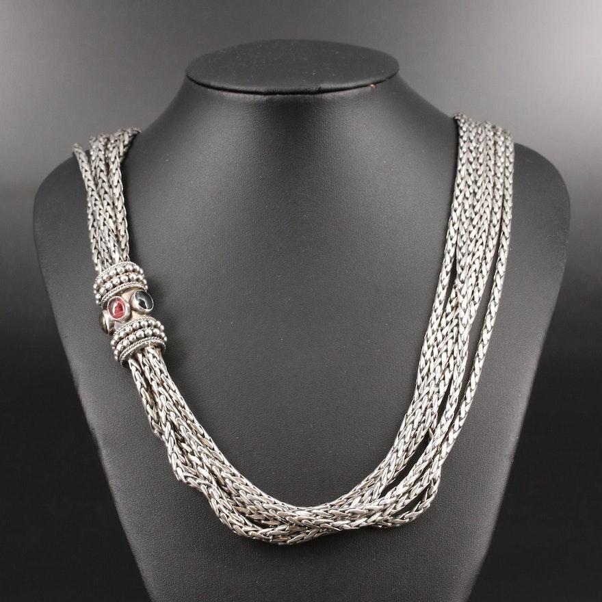 Suarti Balinese Multi-Strand Sterling Silver Tourmaline Necklace