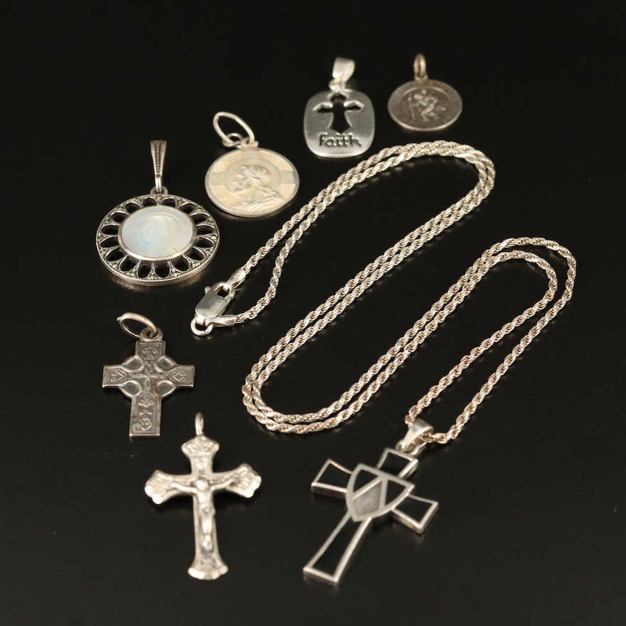 Religious Themed Pendants and Rope Chain Including Enamel and Mother of Pearl