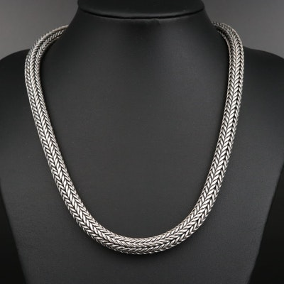 Sterling Round Foxtail Chain Necklace