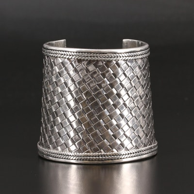 Suarti of Bali Sterling Silver Basket Weave Cuff